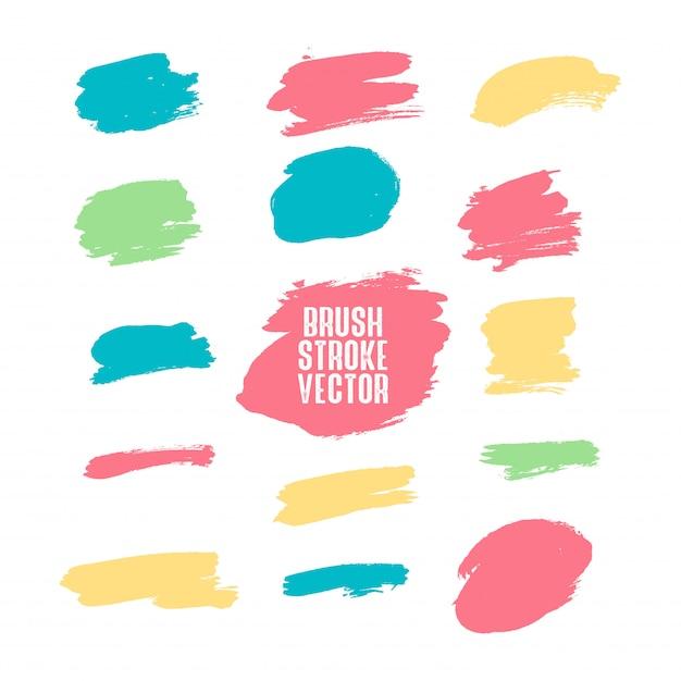 Set di pennellate colorate Vettore Premium