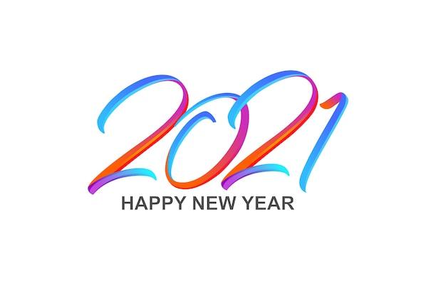 Colorata pennellata di vernice lettering calligrafia felice anno nuovo Vettore Premium