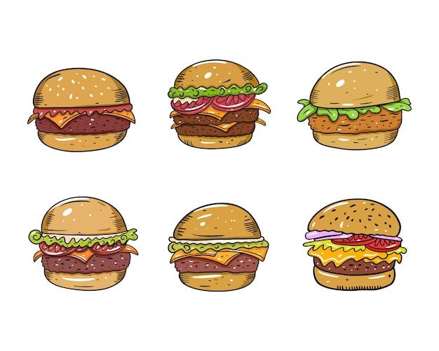 Set di hamburger colorati. piatto . stile cartone animato. isolato su sfondo bianco. disegno di testo schizzo per tazza, blog, carta, poster, banner e t-shirt. Vettore Premium