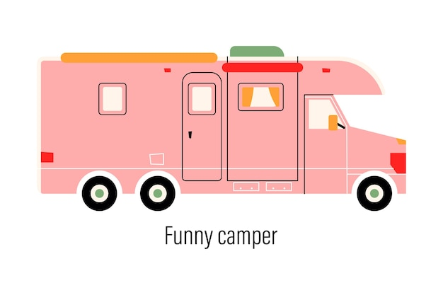 Camper colorato. auto di intrattenimento. casa mobile per attività ricreative fuori città e attività ricreative all'aperto. Vettore Premium