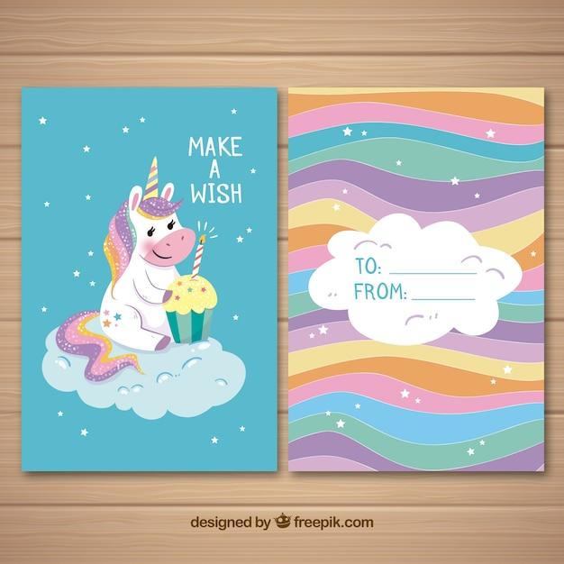 Scheda colorata con unicorno carino e bigné Vettore Premium