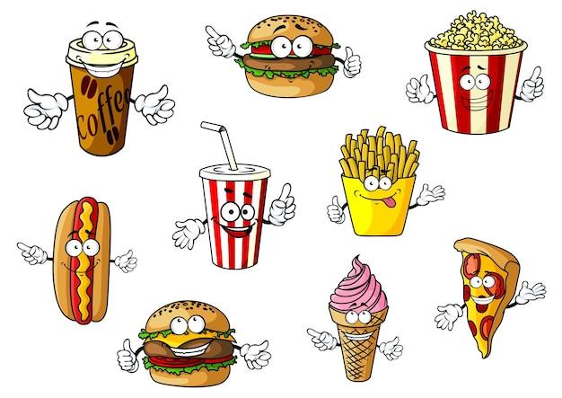 Coloratissimo cartone animato fast food e personaggi da asporto Vettore Premium
