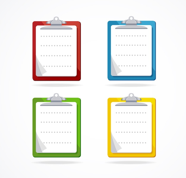 Appunti colorati con set di icone di carta bianca. vista dall'alto. Vettore Premium