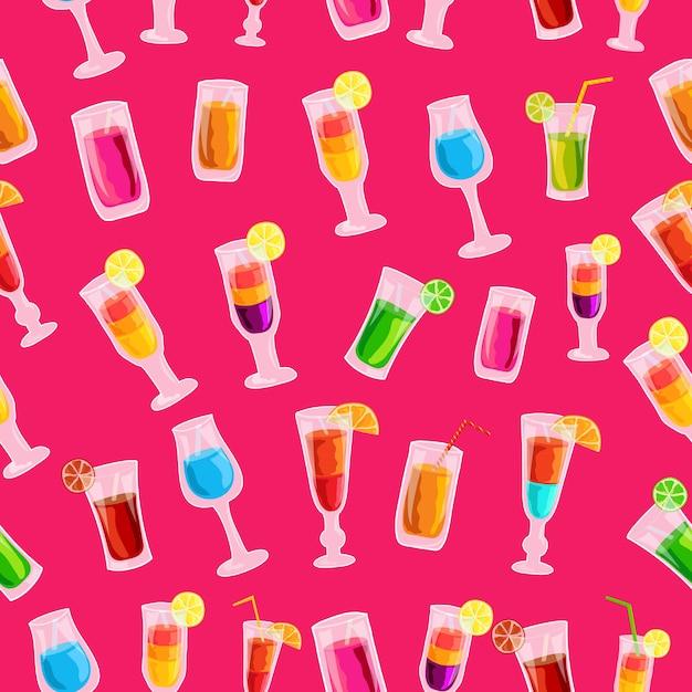 Colorful cocktail drink seamless pattern concetto di modello Vettore Premium