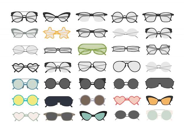 Gli occhiali e gli occhiali da sole differenti variopinti hanno messo su bianco. Vettore Premium