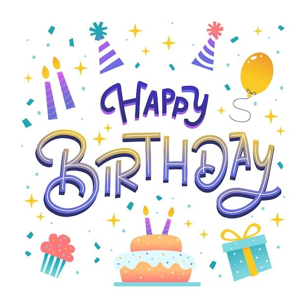 Colorato doodle buon compleanno scritte Vettore Premium