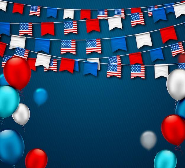 Ghirlande festive colorate di bandiere e palloni ad aria usa. festa dell'indipendenza americana e dei patrioti Vettore Premium