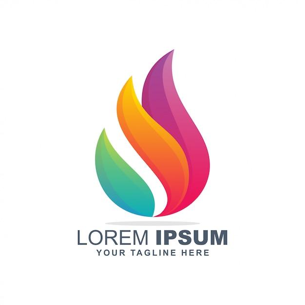 Logo fiamma colorata Vettore Premium