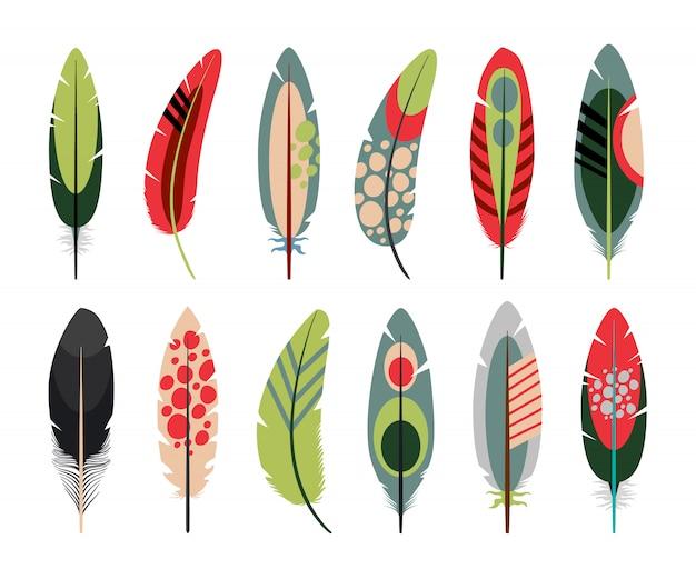 Icone colorate piume piatte Vettore Premium