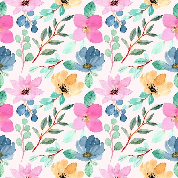 Reticolo senza giunte dell'acquerello floreale colorato Vettore Premium