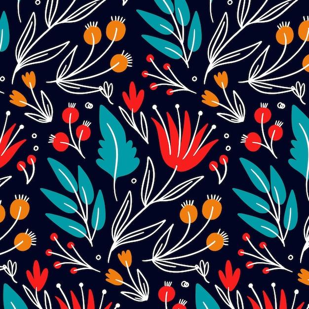 Modello colorato di fiori e foglie Vettore Premium