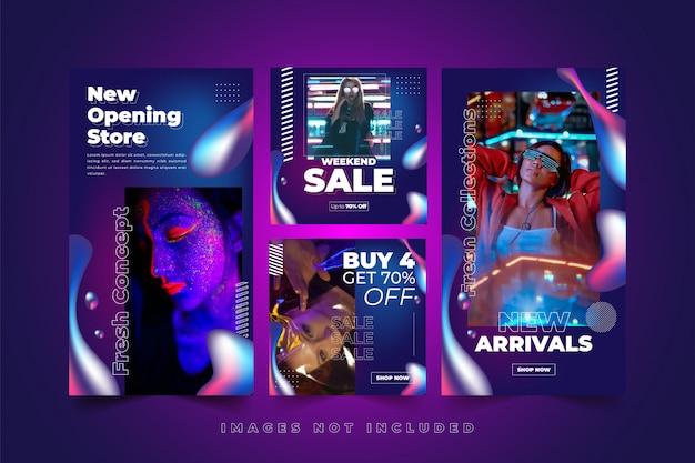 Modello di social media al neon fluido colorato per la moda donna Vettore Premium