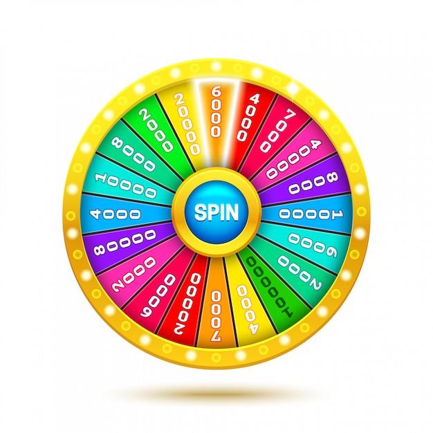 Ruota della fortuna colorata. illustrazione realistica della ruota della fortuna 3d. isolato sfondo bianco ob. Vettore Premium