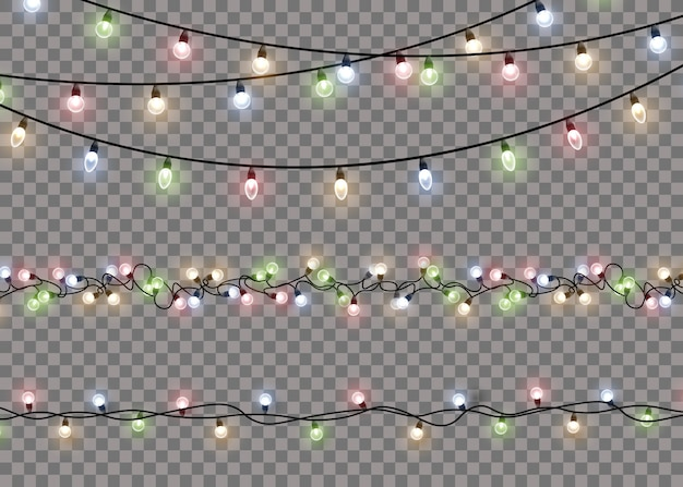 Lampada a luce bagliore colorato su stringhe di filo. ghirlande di decorazioni luminose. vettore. Vettore Premium