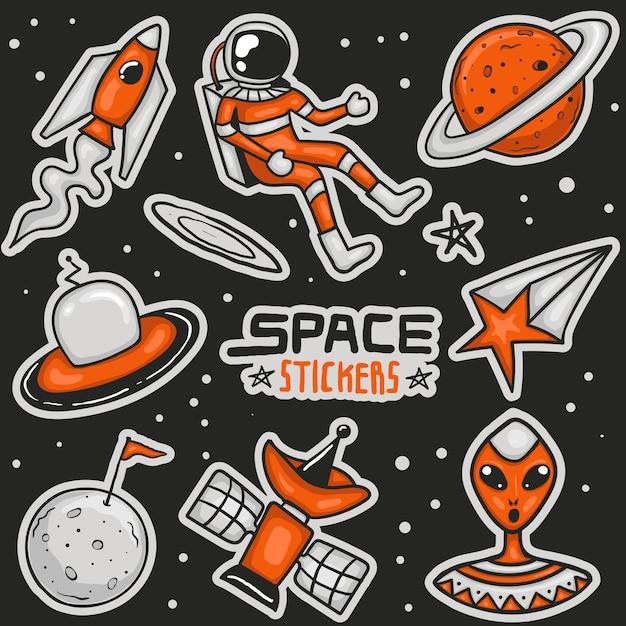 Collezione di adesivi spaziali colorati disegnati a mano Vettore Premium
