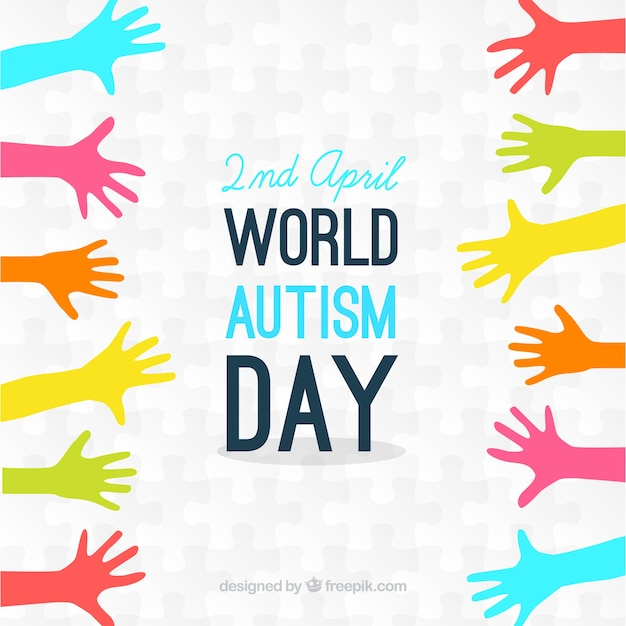 Mani colorate autismo giorno sfondo Vettore Premium