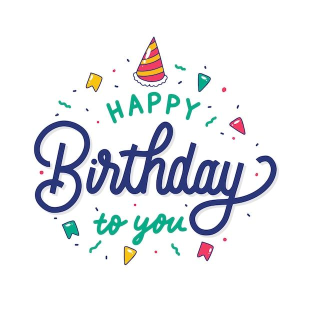 Buon compleanno colorato a te scritte a mano Vettore Premium
