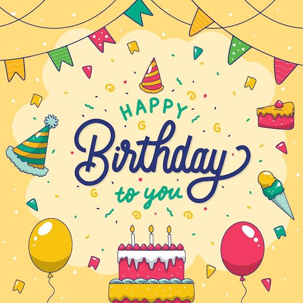 Buon compleanno colorato a te scritte a mano poster Vettore Premium