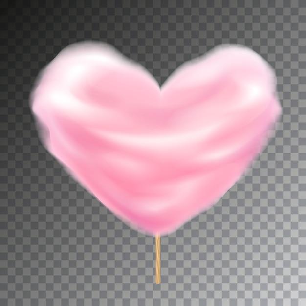 Zucchero filato colorato a forma di cuore sul bastone. illustrazione di spuntino soffice dolce con trasparenza. Vettore Premium
