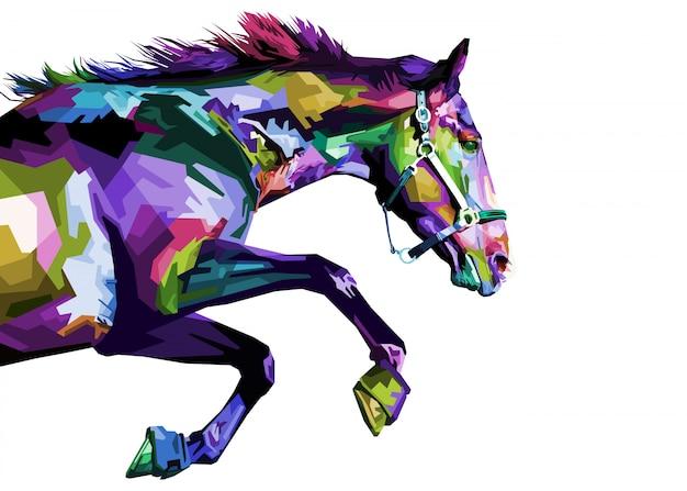 Funzionamento variopinto del cavallo isolato su fondo bianco. Vettore Premium