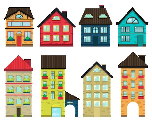 Vista frontale di case colorate Vettore Premium