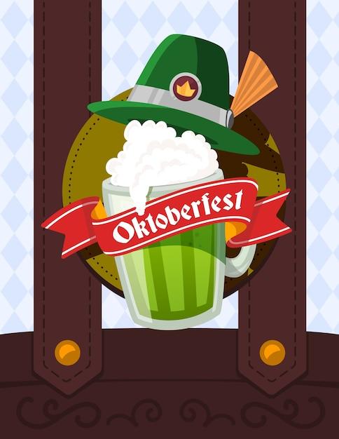 Illustrazione colorata di grande boccale di birra verde con cappello, nastro rosso e testo su tute maschili e sfondo a rombi. festival e saluto dell'oktoberfest. Vettore Premium