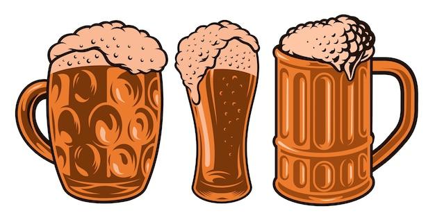 Illustrazioni colorate di diversi bicchieri di birra Vettore Premium