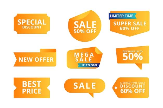 Collezione di tag vendita etichetta colorata Vettore Premium