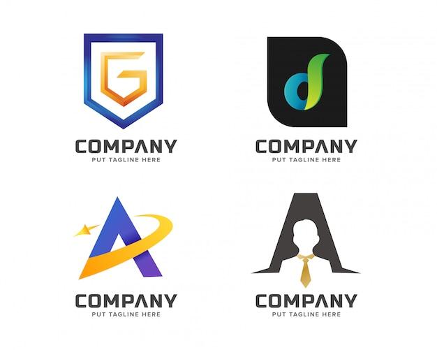 Collezione di logo iniziale lettera colorata Vettore Premium
