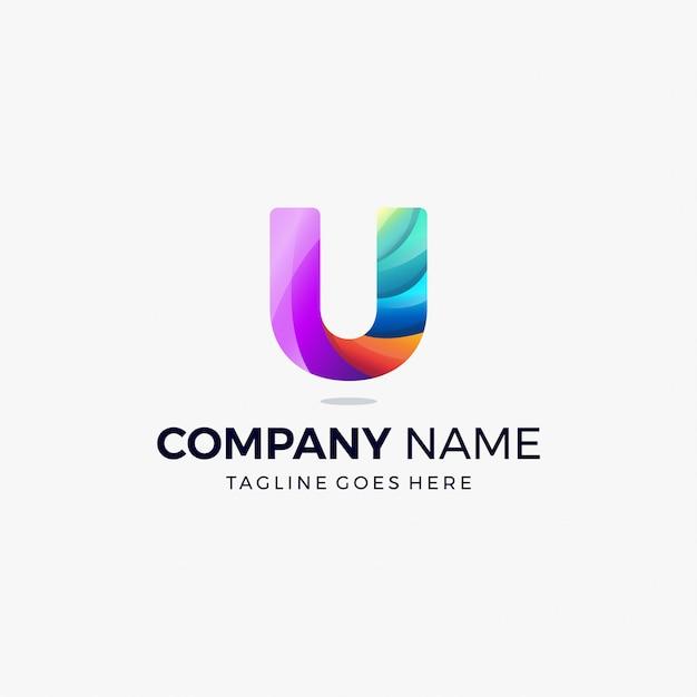 Modello variopinto di progettazione di massima di logo di pendenza della lettera u Vettore Premium
