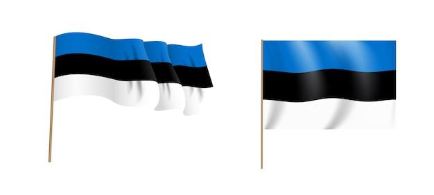 Colorato naturalistico sventolando bandiera del paese estonia. Vettore Premium