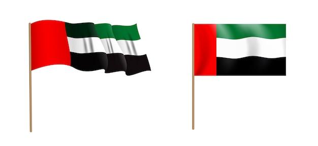Naturalistico colorato sventolando la bandiera degli emirati arabi uniti. Vettore Premium