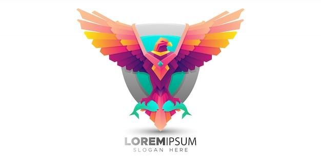 Modello di logo colorato uccello osprey Vettore Premium