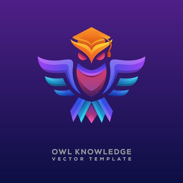 Logo o logotipo di conoscenza gufo colorato Vettore Premium
