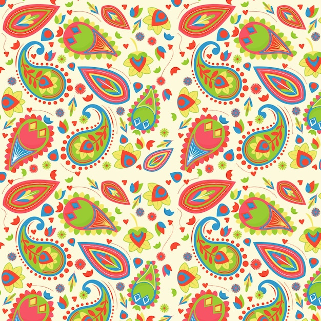 Motivo paisley colorato Vettore Premium