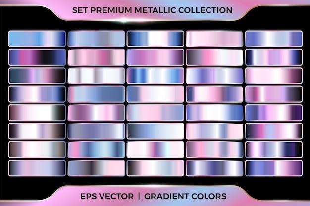 Colorato rosa azzurro gradiente combinazione di raccolta grande set di modelli di tavolozze Vettore Premium