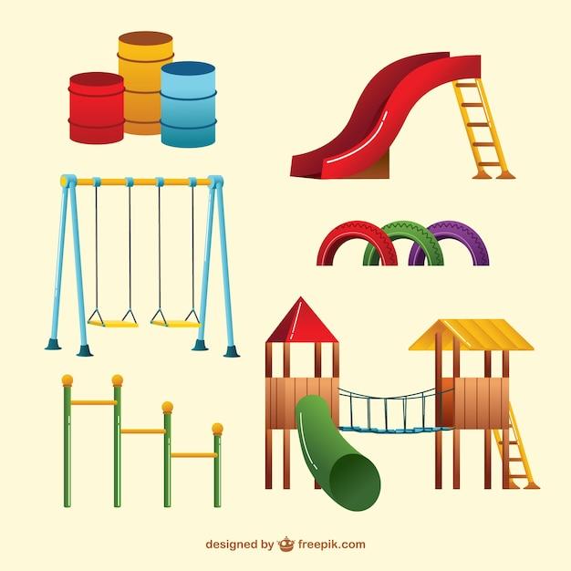 Parco giochi altalene colorate Vettore Premium
