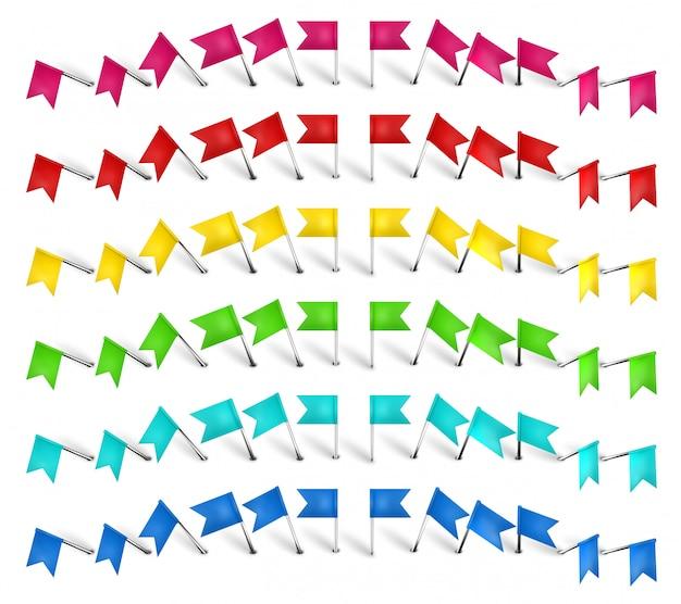 Puntina colorata, bandiera pin e puntina da disegno. perno contrassegno posizione colore, bandiere rosse e set di perni realistici. articoli di cancelleria. documenti di plastica e accessori per cucire. illustrazione di aghi da collezione Vettore Premium