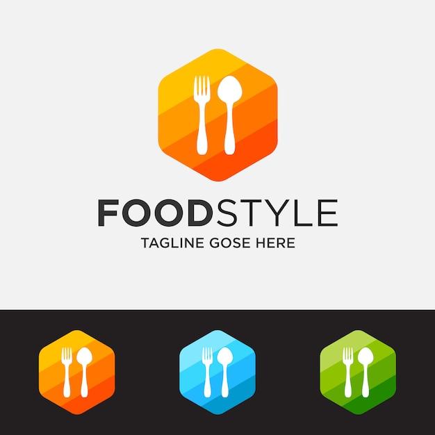 Colorato del concetto di logo del ristorante, modello di logo del ristorante Vettore Premium