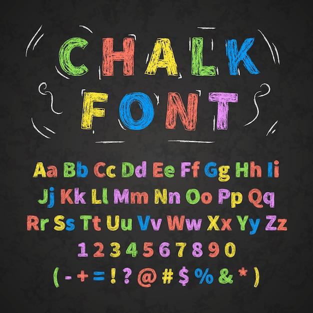 Lettere di alfabeto disegnato a mano retrò colorato disegno con gesso sulla lavagna nera Vettore Premium