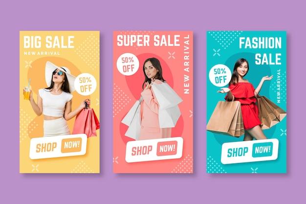 Storie colorate di instagram di vendita Vettore Premium