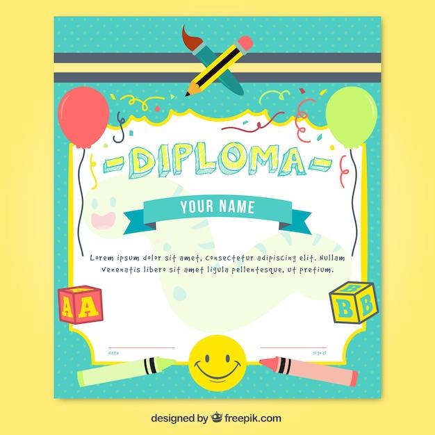 Diploma di scuola colorato Vettore Premium