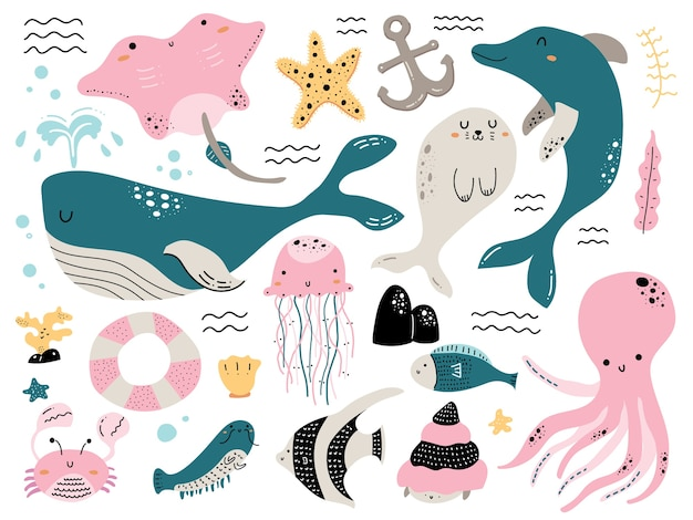 Animale di mare variopinto doodle Vettore Premium