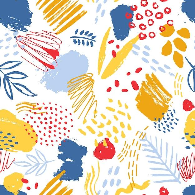 Modello senza cuciture colorato con tracce di vernice, pennellate, macchie, segni, scarabocchi e foglie astratte su bianco Vettore Premium