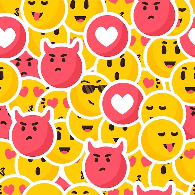 Modello di emoticon sorriso colorato Vettore Premium