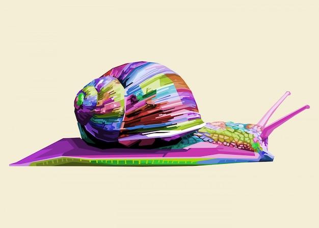Lumaca colorata sulla pop art geometrica Vettore Premium