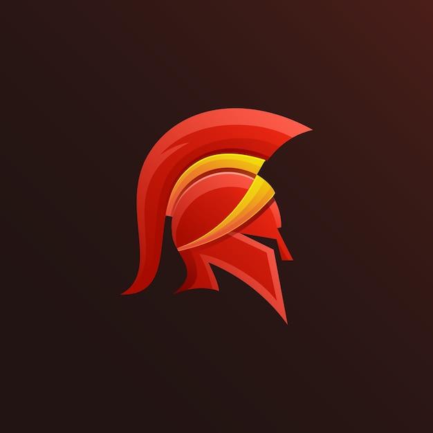 Design colorato logo spartano Vettore Premium