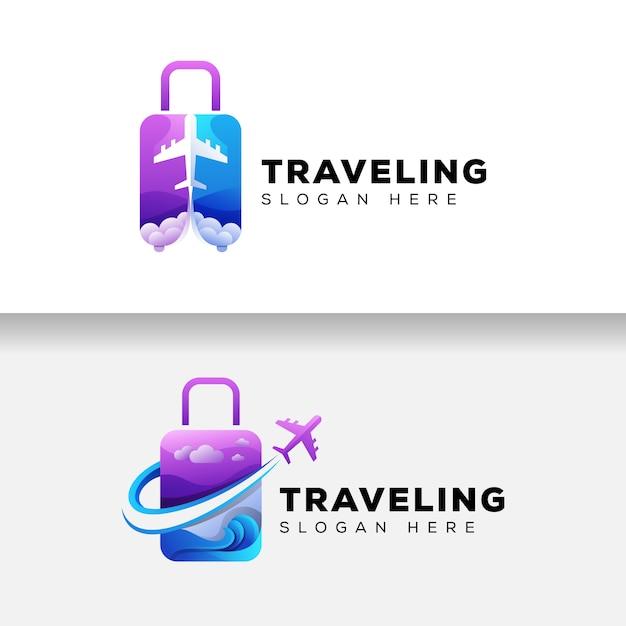 Logo di viaggio valigia colorata, modello di logo di vacanza aereo Vettore Premium