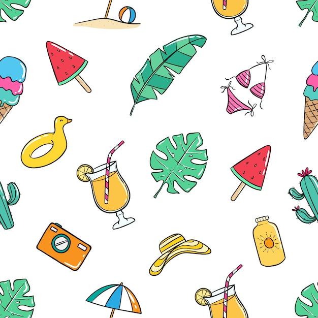 Modello senza saldatura estate colorata con stile doodle Vettore Premium