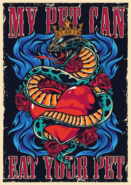 Poster autentico tatuaggio colorato Vettore Premium